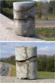 Różne przypadki spękań i zarysowań betonu widoczne na pobocznicach odwiertów wyciętych z konstrukcji